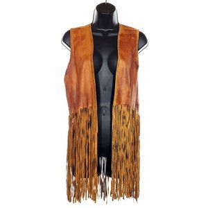 VINTAGE Fringe Leather Vest Brown Hippy Boho 1970